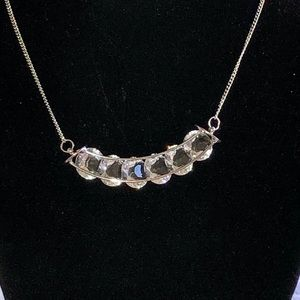Silver Large Crystal Crescent Shaped Necklace